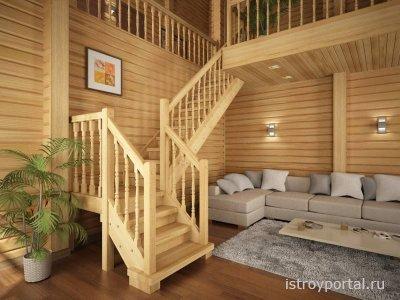 Деревянная лестница в коттедже - лучшее дизайнерское решение