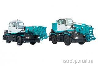Новые вездеходные краны Kobelco LYNX130 и LYNX160, используемые в строитель ...